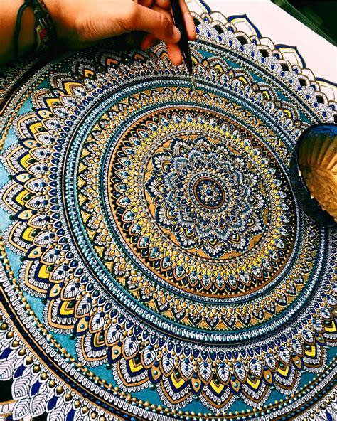 Mandala Gold elaborate mandala designs gilded with gold leaf by artist asmahan mosleh cutpastestudio