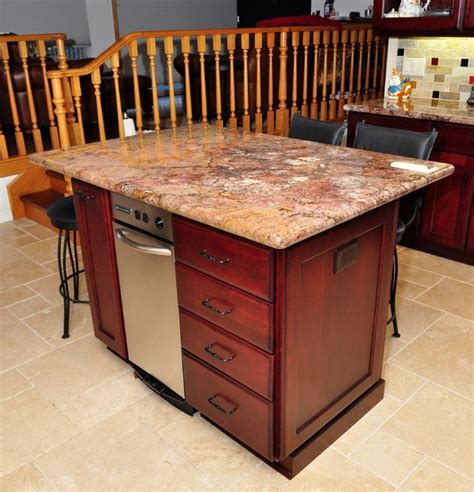Cherry Wood Kitchen Island | dark cherry color kitchen cabinets and isles home design