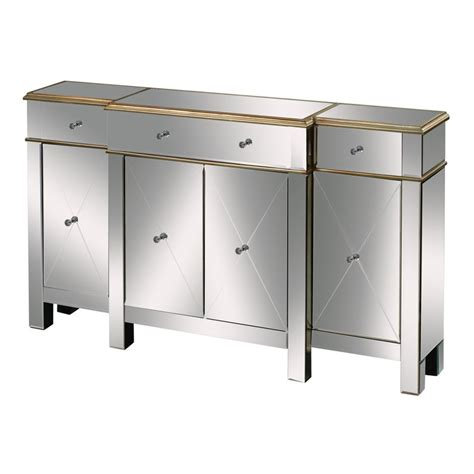 sterling bordeaux mirrored buffet table in chagne