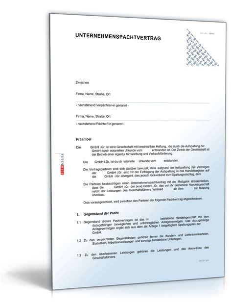 Musterbriefe Zum Ausdrucken Unternehmenspachtvertrag Muster Vorlage Zum