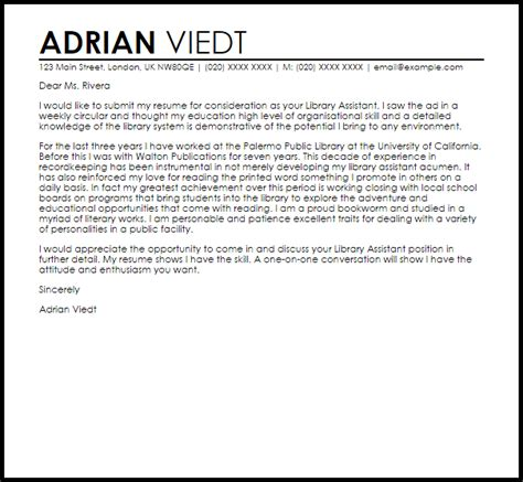 Letter Of Recommendation For Librarian Library Assistant Cover Letter Sle Livecareer