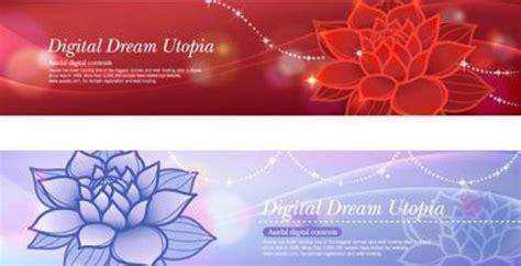 Lotus Flowers Banner Design Templates Vector Free Download Flower Banner Template