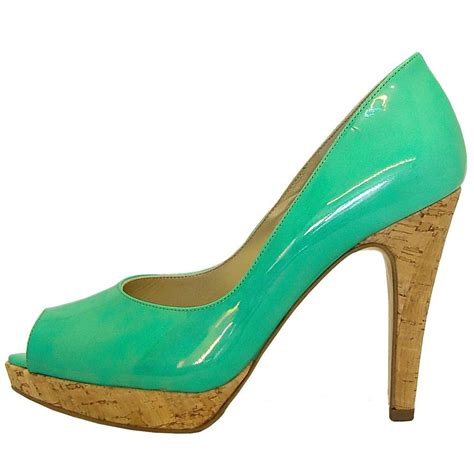 emerald high heels kaiser patu high heel peep toe shoes in petrol