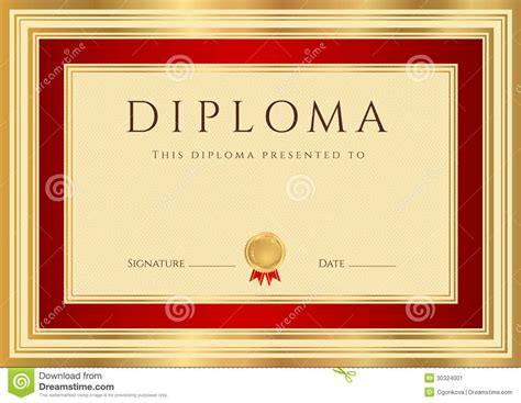 Diploma / Certificate Template With Red Border Stock