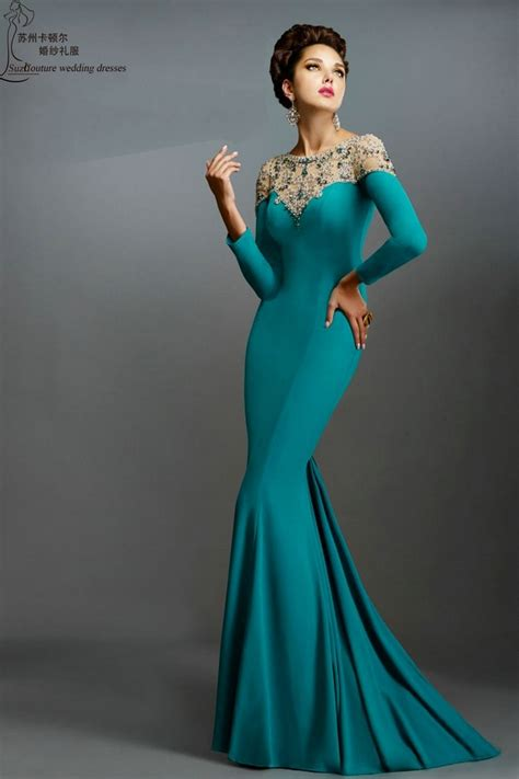 long sleeve prom dresses  pm elegant long mermaid