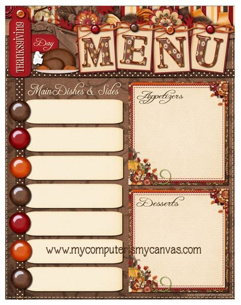 free thanksgiving menu templates 6 best images of free printable thanksgiving menu