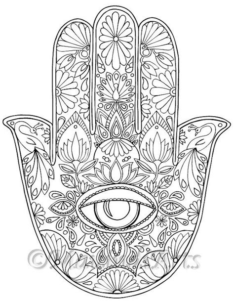 coloring pages for visually impaired hamsa eye coloring page print