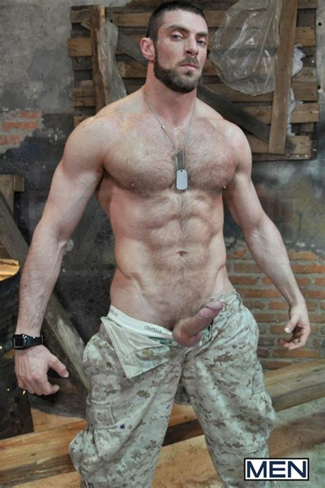Nude hairy military men