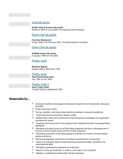sle of resume for demi chef de partie ajez cv