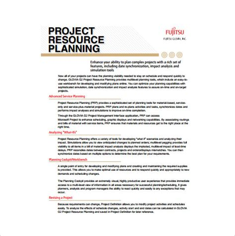 project management resource planning template sle project plan template 11 free excel pdf