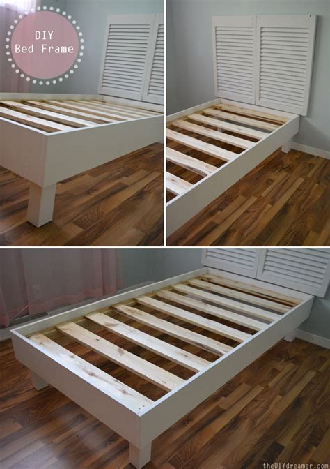 easy diy bed frame shutter headboard tutorial the d i y dreamer