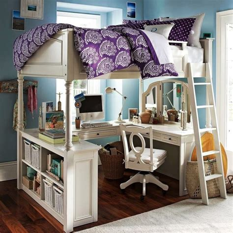 Furniture white wooden loft beds with u shaped desks underneath and shelves also drawers having