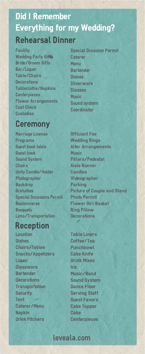 here is a wedding checklist everything you have