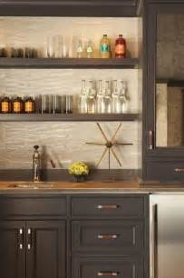 Built In Bar Cabinets Built In Bar Gray Cabinets Open Shelving Leather Hardware Pulls Wallpaper House