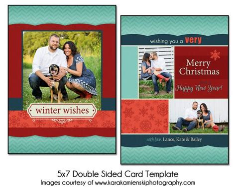 Christmas Card Template Winter Collage 5x7 Double Sided Sided Postcard Template Photoshop