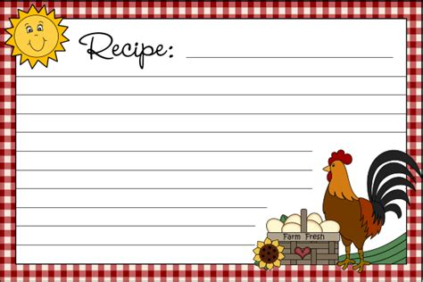 country recipe card templates free free printable recipe cards country clipart by