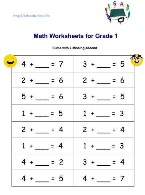 1st Grade Worksheets Pdf by Sum With 7 Missind Addend Jpg 652 215 878 Maths