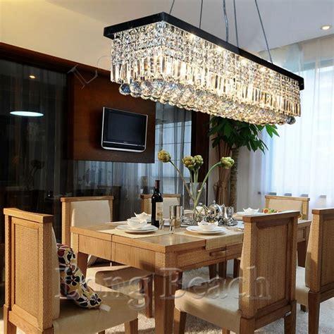 modern large rectangular led crystal chandelier light