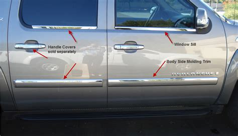 Side Moulding List Sing Chrome Spin 1 side molding styling chevy chevrolet avalanche truck accessories