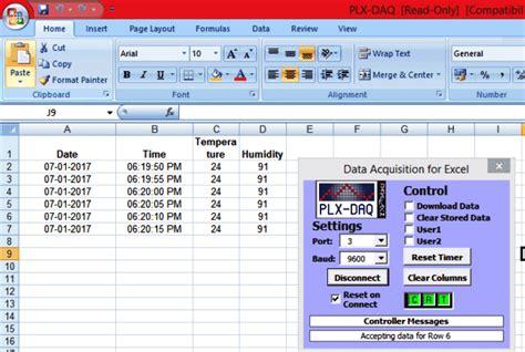 exle arduino esp8266 logging data to excel sheet using arduino and plx daq