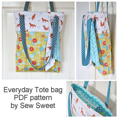 pattern for tote bag with gusset miss foxy everyday tote bag pdf sewing pattern craft