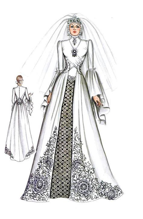 desain gaun kebaya muslimah modifikasi kebaya dan gaun dengan hiasan menyilang di dada