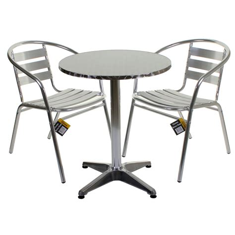 Aluminium Bistro Table Aluminium Lightweight Chrome Bistro Sets Square Tables Stacking Chairs Ebay
