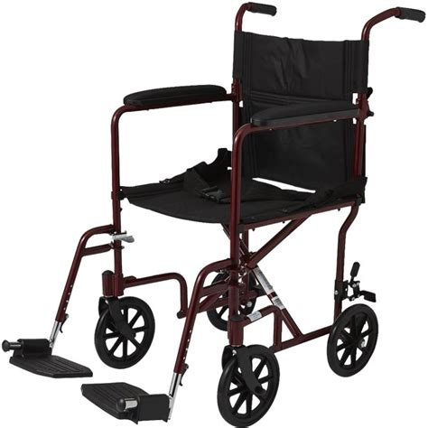 medline basic aluminum transport chair with eight inch