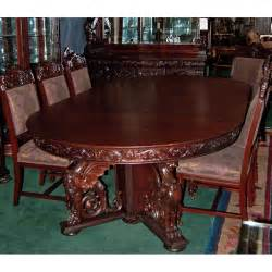 r j horner 16 pc winged griffin carved mahogany dining dining room table and chairs antique for sale in