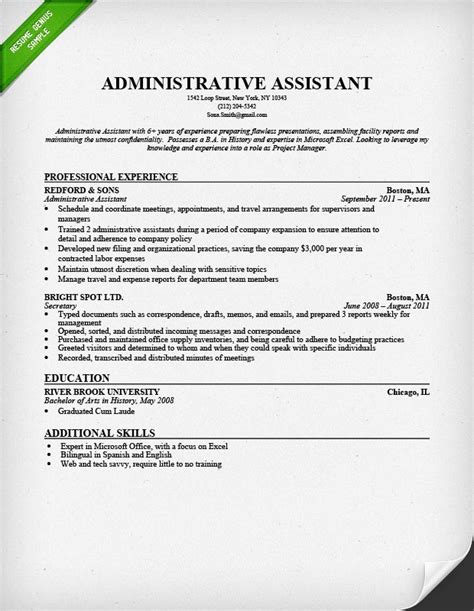 exle of administrative assistant resume administrative assistant resume sle resume genius