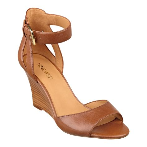 light brown wedge heels nine west floyd ankle strap wedge sandals in brown light