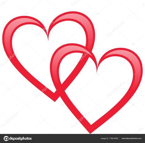 cuore clipart due cuori intrecciati illustrazione foto stock