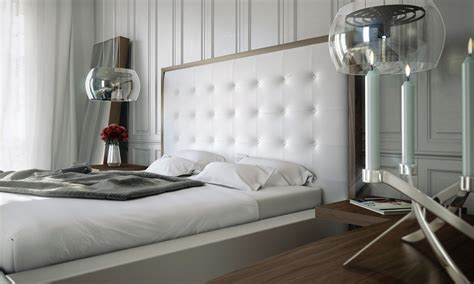 lush walnut white leather modern platform bed