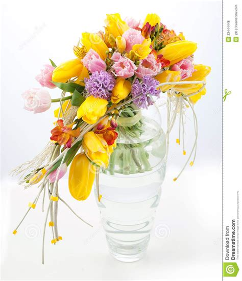 colorful spring flowers bouquet colorful bouquet of spring flowers in vase royalty free