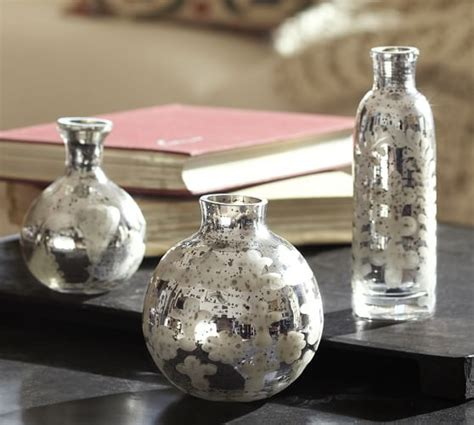 Mercury Glass Vases by Etched Mini Mercury Glass Vases Set Of 3 Pottery Barn