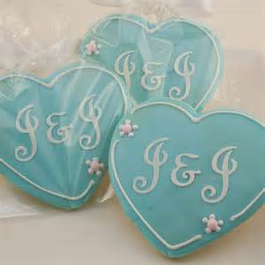 Monogrammed heart sugar cookies for wedding by tscookies on etsy