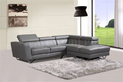 grey leather sectional sofa 6201 sectional sofa in grey leather by at home usa