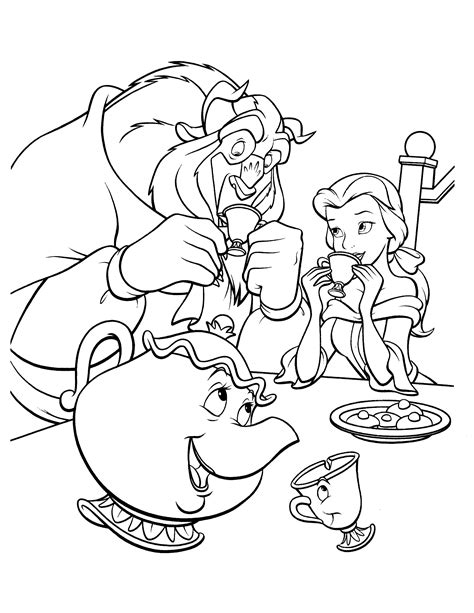 printable coloring pictures of beauty and the beast tale as old as time cute kawaii resources