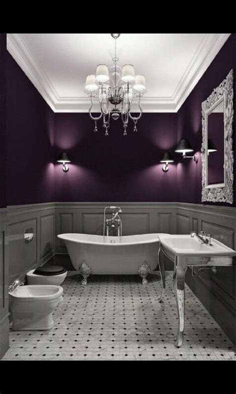 Navy Blue Ceiling by Gorgeous Bathroom With Purple Walls So Glamorous