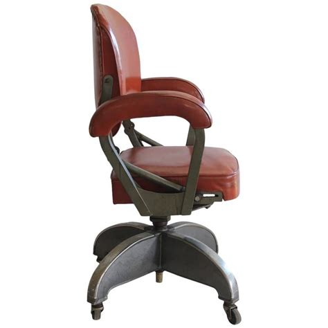 stylish deco leather and metal desk chair at 1stdibs