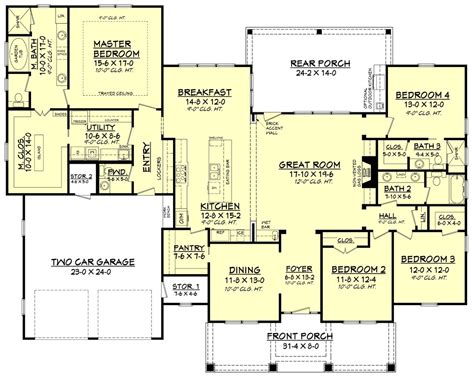 5 Bedroom 3 Bathroom House Plans by Craftsman Style House Plan 4 Beds 3 50 Baths 2759 Sq Ft