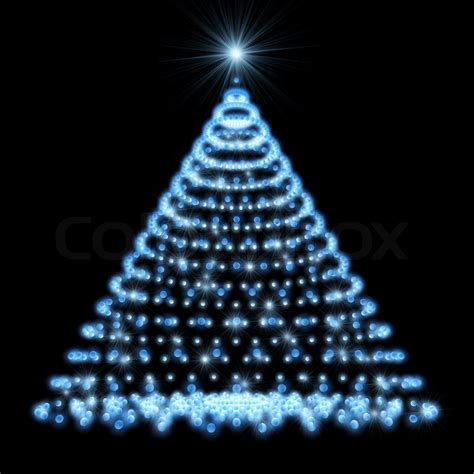 abstract christmas tree made of blue lights on black