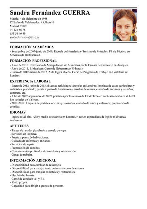 Modelo Curriculum Camarero Como Hacer Un Curriculum Vitae Como Hacer Un Curriculum Para Hosteleria