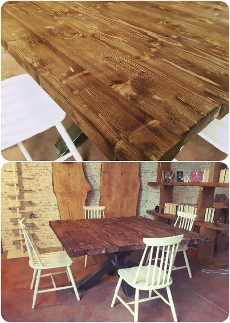 tavoli con gamba centrale tavolo da pranzo quadrato legno massello stile industriale