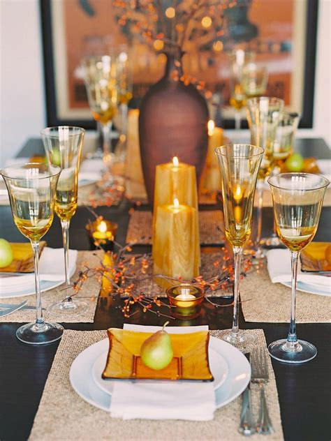 fall table setting party idea glittering fall table setting and centerpiece ideas hgtv