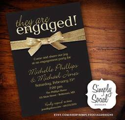 engagement invitation black and gold glitter ribbon personalized custom printable