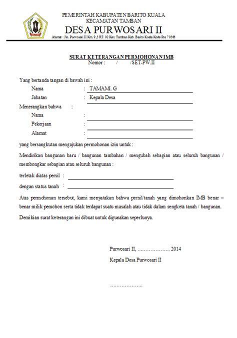 desa purwosari ii surat keterangan permohonan imb