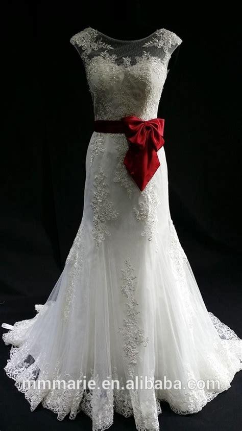 putih alibaba gaun pengantin dengan pita satin garis merah elegan gaun pengantin busur simpul