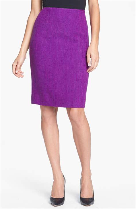 klein herringbone pencil skirt in purple amethyst
