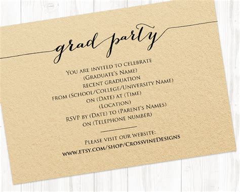 Card Insert Template Free For Graduation by Graduation Invitation 183 Wedding Templates And Printables